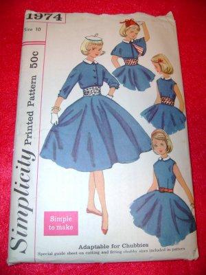 Vintage Simplicity Girls One Piece Dress Jacket Cape Cumberbund Pattern Size 10
