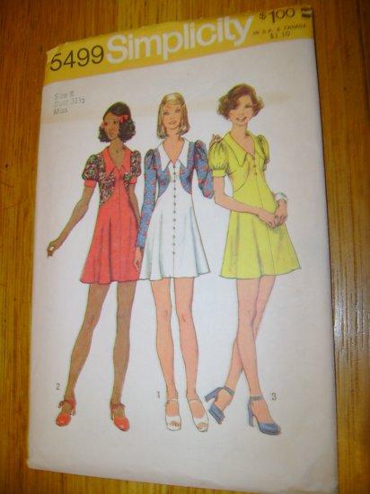 Vintage Simplicity Junior Petites Misses Short Dress Pattern Size 8