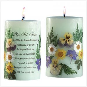 Bless this Home Flowers Green Candle