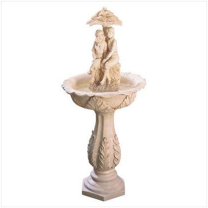 Young Couple Garden Fountain