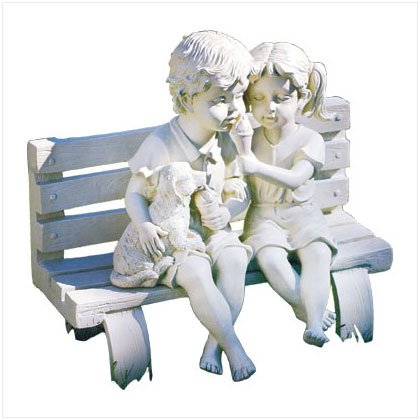 Kids with Dog Bench Sculpture