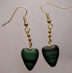 Dark Green Heart Earrings