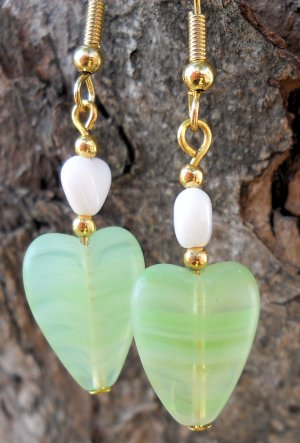 Green Heart Earrings