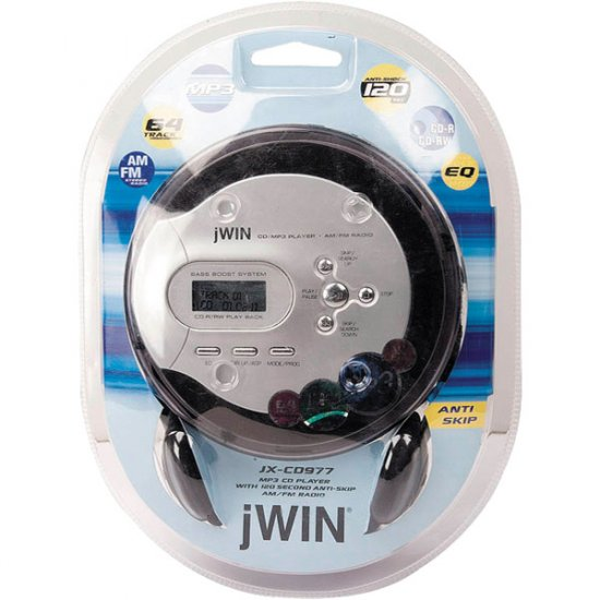 jWIN Personal MP3/CD Player with AM/FM Radio JX-CD977