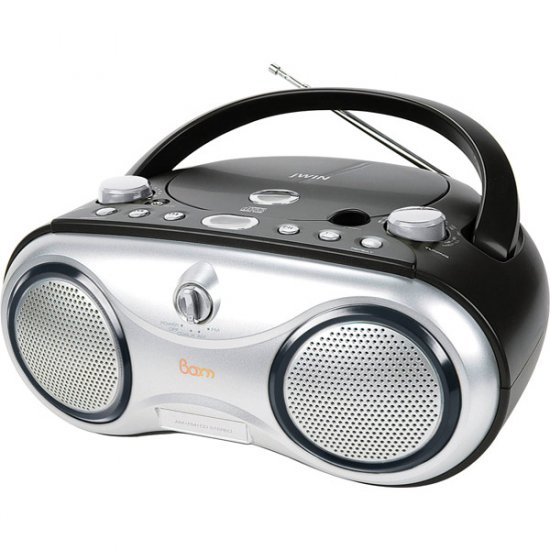 jWIN Portable AM/FM/CD Boombox Black JX-CD423BLK