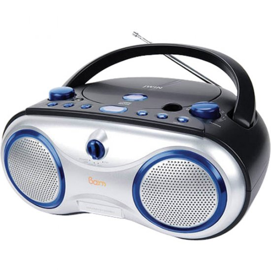 jWIN Portable AM/FM/CD Boombox Blue JX-CD423BLU