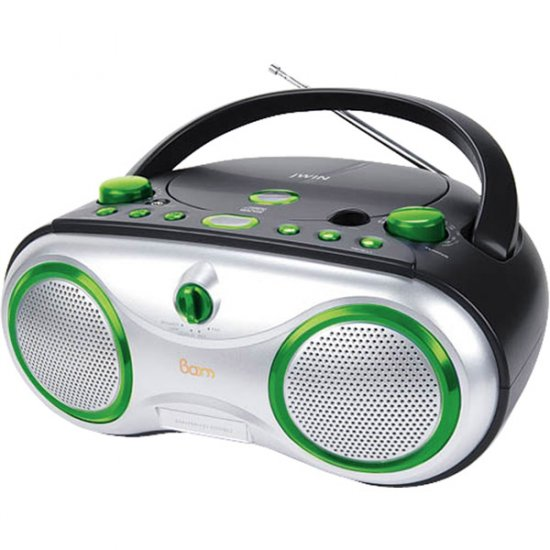 jWIN Portable AM/FM/CD Boombox Green JX-CD423GRN