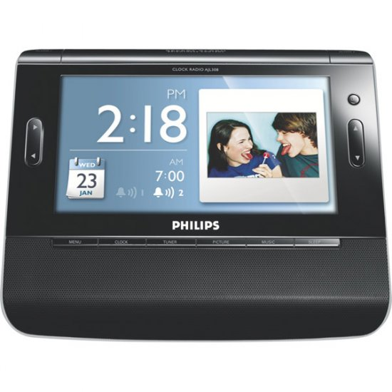 """Philips Clock Radio with 7"""" TFT LCD Color Display And USB/SD� Card Slot AJL308"""