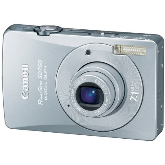 "Canon 7.1MP Digital ELPH Camera with 3x Optical Zoom Lens and 3.0"" Silver LCD POWERSHOT-SD750SLV"