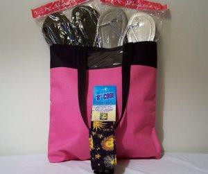 5 pc set of Tote Bag, Ladies Metallic Flip Flops,B Cool Bandana, and Sunscreen Lotion