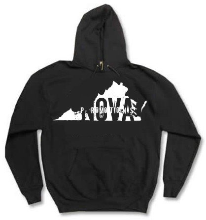 Virginia Black Pullover Hoodie Size LARGE