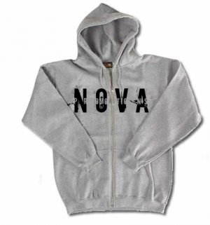 NOVA Gray Zip-Up Hoodie Size SMALL
