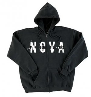 NOVA Black Zip-Up Hoodie Size SMALL