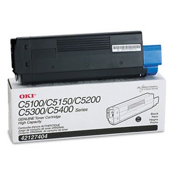Okidata 42127404, Genuine C5100/ C5150/ C5200/ C5300/ C5400/ C5510 MFP Series Black Toner Cartridge