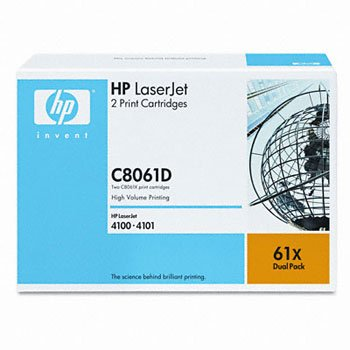 HP C8061D, Genuine LJ 4100 Series Toner Cartridge Dual Pack (2 Pack of C8061X)
