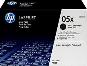 HP CE505XD, Genuine 05X LJ P2050/ P2055 Series Toner Cartridge Dual Pack
