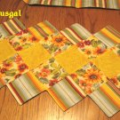 2 NEW Quilted Reversible Placemats + Table Runner Longaberger Sunflower & Stripe