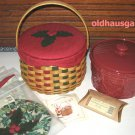 LONGABERGER 2003 Christmas Caroling Basket Combo w/Lid + Pottery Crock Set