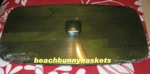 NEW Longaberger Bread/Vanity Basket WOODEN LID Bold Green Finish FREE shamrock knob!