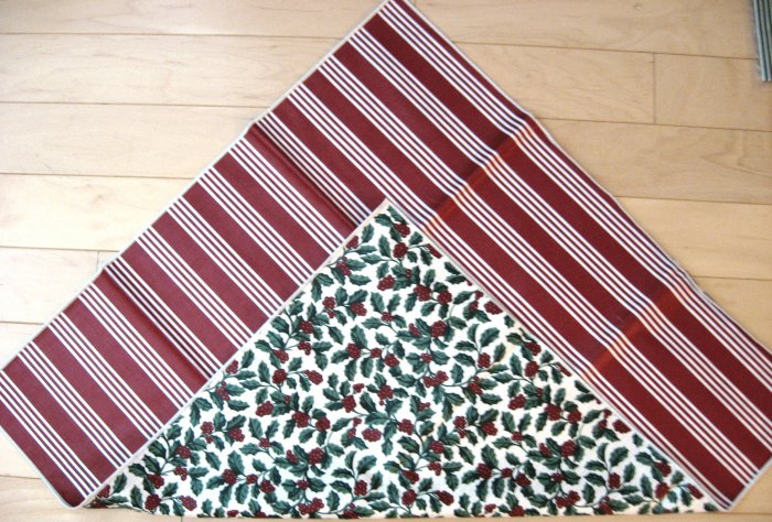 """NEW Longaberger 12"""" Reversible Table Squares Christmas Holly/Stripe FREE SHIPPING"""
