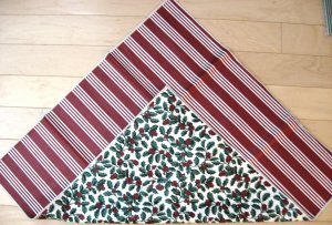 "NEW Longaberger 12"" Reversible Table Squares Christmas Holly/Stripe FREE SHIPPING"