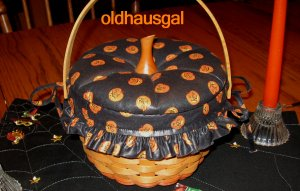 1996 Longaberger Small Pumpkin Basket Combo with Lid Black Boo Pumpkin Fabric