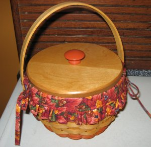 1996 Longaberger Small Pumpkin Basket  Combo + Wood Lid Fall Foliage Fabric