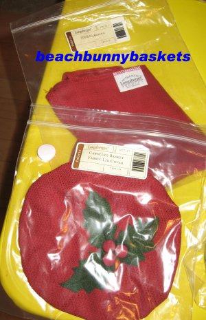 NEW Longaberger Caroling Basket PAPRIKA LINER + Matching LID COVER FREE SHIPPING