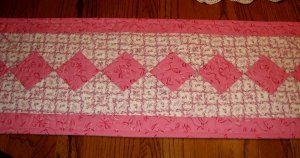NEW Custom Quilted Table Runner Longaberger Horizon of Hope Breast Cancer Ribbon Fabrics