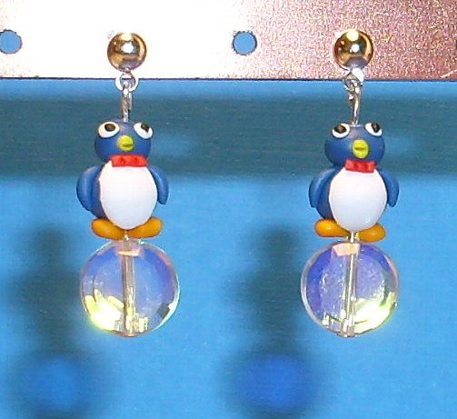 Mr. Ice Cube Penguin Silver Earrings