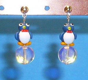 Mr. Ice Cube Penguin Silver Earrings