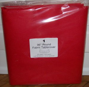 "FABRICMATE  96""  ROUND BANQUET TABLE COVERS -TABLECLOTHS -CASE OF 12! CHOICE OF 6 COLORS!"