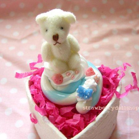 Kuma bear lollipop ring [blue x white]