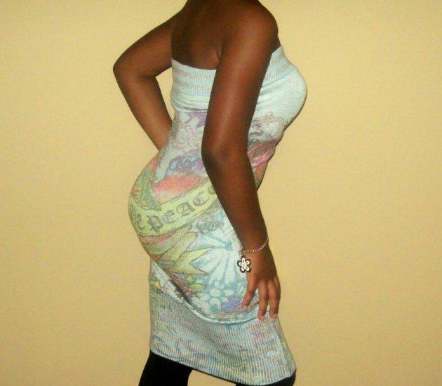 Shimmering Graphic Tattoo Tube Dress ( Sz Med)