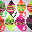 1 KNIT FLEECE LINED NEON CRAZE WOMENS MENS EAR FLAP SKI WINTER HAT PICK YR COLOR