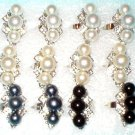 WHOLESALE LOT 12 COSTUME METAL FAUX PEARL RHINESTONE ADJUSTABLE RINGS JEWELRY