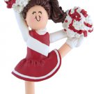 PERSONALIZED NAME CHEERLEADER CHEER LEADER RED WHITE ORNAMENT WE CUSTOM PRINT