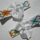 Diamond shape Ribbon with White Bow Clippies