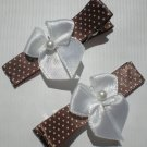 Polka Dots Brown/White Ribbon with White Bow Clippies