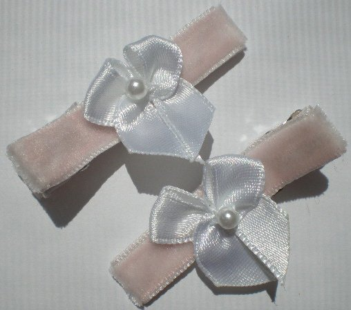 Pink Velvet Ribbon with White Bow Clippies