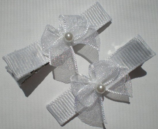 White Ribbon with White Sheer Bow Clippies