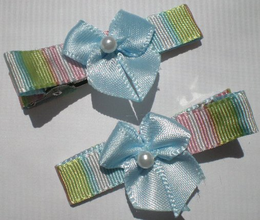 Multi colored Stripes Ribbon with  Blue Bow Clippies