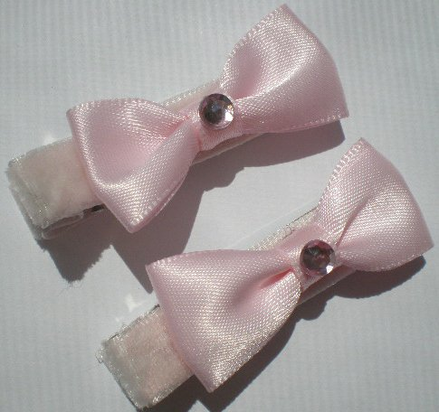 Pink Velvet Ribbon with Pink Bow and Pink Rhinestone Clippies