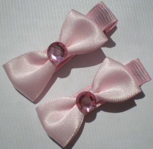 Pink Ribbon with Pink Bow with Pink Rhinestone Clippies