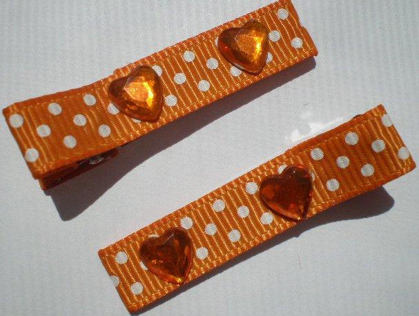 Orange/white Polkadots Ribbon with Heart shaped Rhinestones Clippies