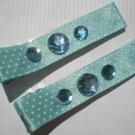 Blue/White Polkadots Ribbon with 3 Blue Rhinestones Clippies