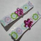 Flower prints Ribbon with Purple Flower Shaped Rhinestone Clippies