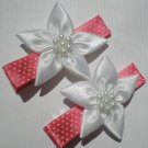 Red/White Polkadots Ribbon with 5 White petal flower Clippies