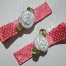 Red/White Polkadots Ribbon with White rose Clippies