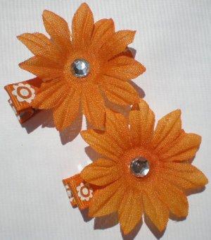 Orange Flower prints Ribbon with 11 Petal Orange Flower Clippies